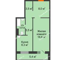 1 комнатная квартира 46,5 м² в ЖК Апрелевка, дом Жилой дом №2, строение 1 - планировка