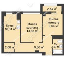 2 комнатная квартира 49,96 м² - Каскад на Сусловой