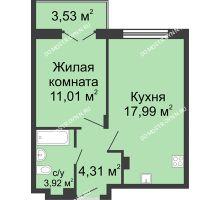 1 комнатная квартира 39 м² в ЖК Клевер, дом № 1 - планировка