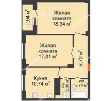 2 комнатная квартира 61,95 м² в ЖК Облака, дом № 2 - планировка