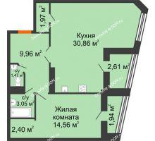 1 комнатная квартира 68,82 м² в Микрорайон Красный Аксай, дом Литер 21