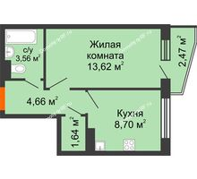1 комнатная квартира 33,41 м², ЖК 9 Ярдов - планировка
