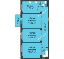 3 комнатная квартира 87,34 м² в ЖК Ясный, дом № 10 - планировка
