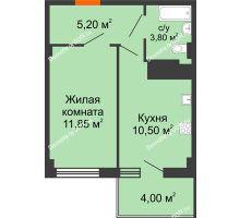 1 комнатная квартира 32,55 м² в ЖК Грин Парк, дом Литер 2 - планировка