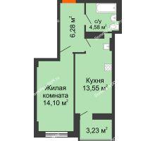 1 комнатная квартира 40,13 м² в ЖК Аврора, дом № 2 - планировка