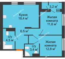 2 комнатная квартира 57,2 м², Жилой дом Фамилия - планировка