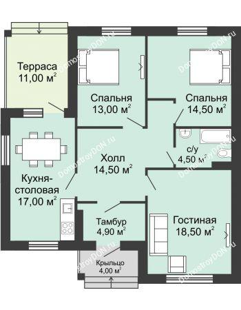 3 комнатная квартира 94,45 м² в КП Щепкин Союз, дом Тип 1, 94.45 м²