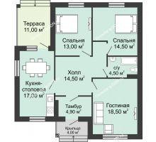 3 комнатная квартира 94,45 м² в КП Щепкин Союз, дом Тип 1, 94.45 м² - планировка