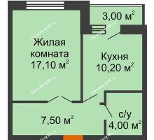 1 комнатная квартира 40,4 м² в ЖК Елецкий Лайт , дом № I-14 - планировка