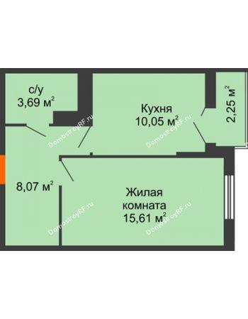 1 комнатная квартира 38,57 м² в ЖК Семейный парк, дом Литер 2