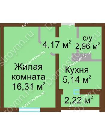 1 комнатная квартира 29,69 м² в ЖК Бурнаковский, дом № 24