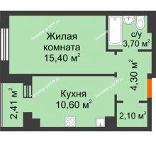 1 комнатная квартира 37,1 м² в Микрорайон Прибрежный, дом № 8 - планировка
