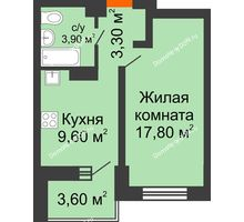 1 комнатная квартира 38 м², ЖК Zапад (Запад) - планировка