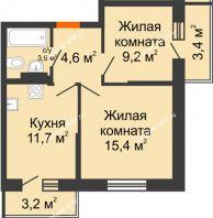 2 комнатная квартира 48,1 м² в ЖК Парк Победы, дом Литер 4 - планировка