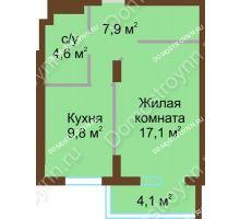 1 комнатная квартира 43,5 м² - ЖК Подкова Сормовская
