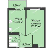 1 комнатная квартира 40,2 м² в ЖК Первый, дом Литер 1 - планировка