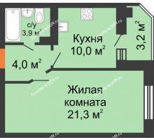 1 комнатная квартира 40,8 м² в ЖК Вересаево, дом Литер 6/2 - планировка