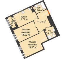 2 комнатная квартира 69,88 м², Дом премиум-класса Коллекция - планировка