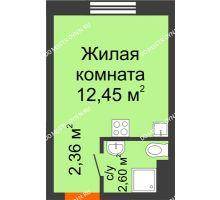 Студия 17,41 м² в ЖК Торпедо, дом № 14 - планировка