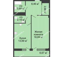 1 комнатная квартира 51,4 м² в  ЖК РИИЖТский Уют, дом Секция 1-2 - планировка