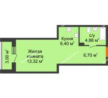 Студия 34,3 м² в ЖК Рассвет, дом №8 - планировка