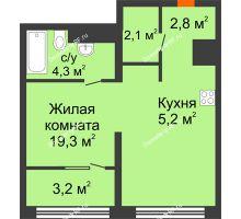 Студия 35,3 м² в Квартал Новин, дом 6 очередь ГП-6 - планировка