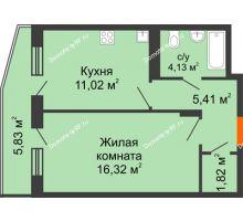 1 комнатная квартира 40,45 м², ЖК 9 Ярдов - планировка
