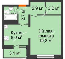 1 комнатная квартира 40,2 м², ЖК Дом на Горького - планировка