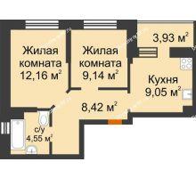 2 комнатная квартира 45,29 м² в ЖК Светлоград, дом Литер 16 - планировка