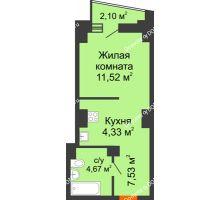 Студия 29,1 м² в ЖК Рубин, дом Литер 3 - планировка
