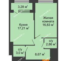 1 комнатная квартира 50,21 м², ЖК Гран-При - планировка