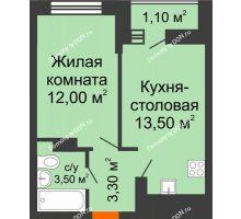 1 комнатная квартира 33,4 м² в ЖК SkyPark (Скайпарк), дом Литер 1, корпус 1, блок-секция 2-3 - планировка