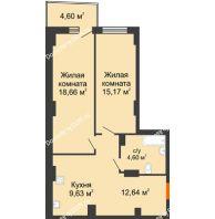 2 комнатная квартира 61,84 м² в ЖК Сердце Ростова 2, дом Литер 8 - планировка
