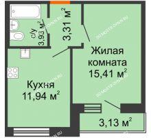 1 комнатная квартира 37,72 м² - ЖК Олимпийский