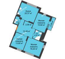 3 комнатная квартира 93,66 м² в ЖК Книги, дом № 2 - планировка