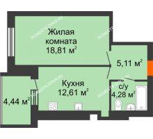1 комнатная квартира 43,03 м² в ЖК Свобода, дом 1 очередь