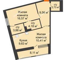 1 комнатная квартира 61,01 м², ЖК Русский Авангард - планировка