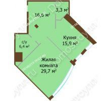 1 комнатная квартира 71,9 м², ЖК Бояр Палас - планировка