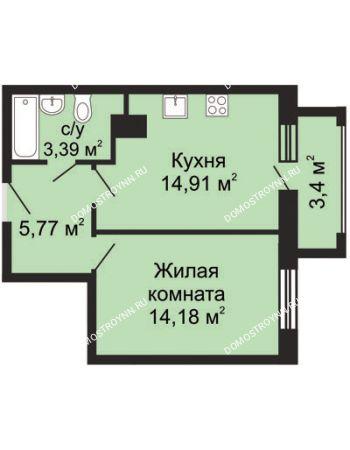 1 комнатная квартира 41,08 м² - ЖК Гелиос