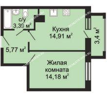 1 комнатная квартира 41,08 м², ЖК Гелиос - планировка
