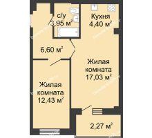 2 комнатная квартира 48,4 м² в ЖК Соловьиная роща, дом № 7 - планировка