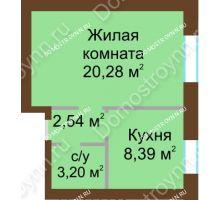 1 комнатная квартира 34,41 м² - ЖК Любимый