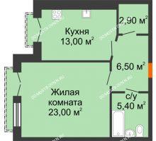 1 комнатная квартира 50,8 м², Жилой дом: г. Дзержинск, ул. Кирова, д.12 - планировка
