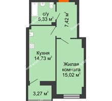 1 комнатная квартира 44,14 м² в ЖК Аврора, дом № 3 - планировка