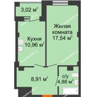 1 комнатная квартира 43,8 м² в Жилой район Берендей, дом № 14 - планировка