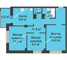 3 комнатная квартира 65,3 м² в ЖК Аквамарин, дом №2 - планировка