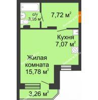 Студия 36,15 м² в ЖК Суворов-Сити, дом 2 очередь секция 1-5 - планировка