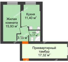 1 комнатная квартира 33,85 м² - ЖК Янтарный