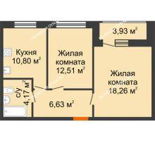 2 комнатная квартира 56,3 м² в ЖК Подкова на Гагарина, дом № 2 - планировка