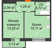 1 комнатная квартира 40,61 м², ЖК На Высоте - планировка